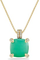David Yurman Ch'telaine Pendant Necklace with Chrysoprase and Diamonds in 18K Gold