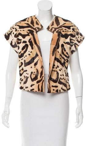 Giambattista Valli Printed Goat Fur Vest w/ Tags