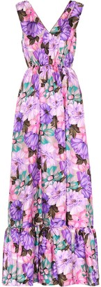 MSGM Floral-printed silk dress