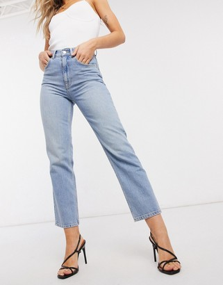 ASOS DESIGN high rise stretch 'slim' straight leg jeans in lightwash