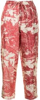 Thumbnail for your product : Pierre Louis Mascia Embroidered Drawstring Silk Trousers