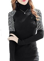 Basket Hill Watches and Gifts Womens Ribbed Turtleneck Sweater with Leopard Shoulders and Buttons