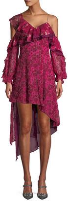 Self-Portrait One-Shoulder Ruffle Dress