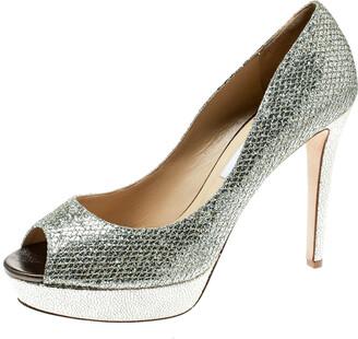 Jimmy Choo Metallic Champagne Glitter Fabric Dahlia Platform Peep Toe Pumps Size 41.5