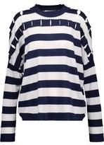 Jil Sander Cutout Striped Silk Wool And Cotton-Blend Sweater