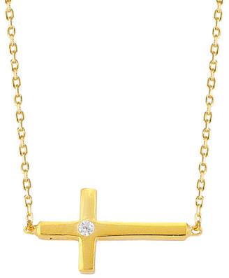 GABIRIELLE JEWELRY Gold Over Silver Cz Cross Necklace