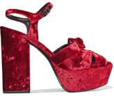 Saint Laurent Farrah Bow-embellished Velvet Platform Sandals - Red