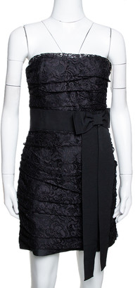 Dolce & Gabbana Black Lace Ruched Strapless Mini Dress M