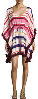 Kate Spade Striped Caftan Coverup With Tassel Trim