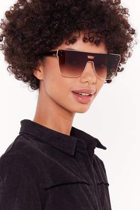 Nasty Gal Womens Tort Her Everything She Knows Oversized Square Sunglasses - Brown - One Size