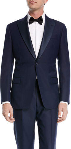 Emporio Armani Textured Two-Piece Tuxedo with Satin Peak Lapel