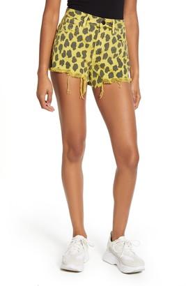 Blank NYC Barrow High Waist Leopard Print Denim Shorts