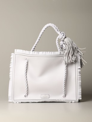 Valentino The Rop Shopping Bag In Leather With Fringes