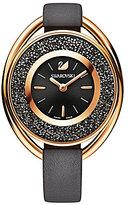 Swarovski Crystalline Oval Crystal Analog Leather-Strap Watch