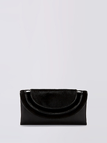 Diane von Furstenberg Piped Leather Calf Hair Envelope Clutch