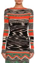Missoni Space-Dye Long-Sleeve Sweater & Bandeau, Red/Black/White