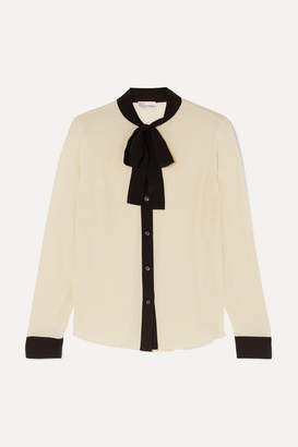 RED Valentino Pussy-bow Silk-crepe Blouse - Ivory