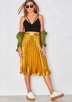 Missy Empire Kati Gold Pleated Midi Skirt