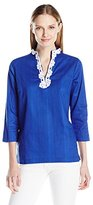 Caribbean Joe Women's Plus Size Leno Shirting Tunic with Lace Trim Embroidery