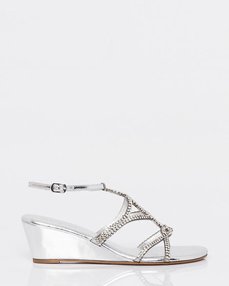 Le Château Jewel & Metallic Faux Leather Wedge