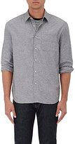 Barneys New York Men's Donegal-Effect Silk-Blend Shirt-GREY