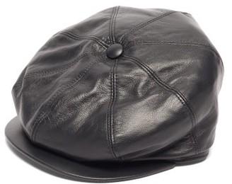 Gabriela Hearst Tremelo Leather Newsboy Cap - Black