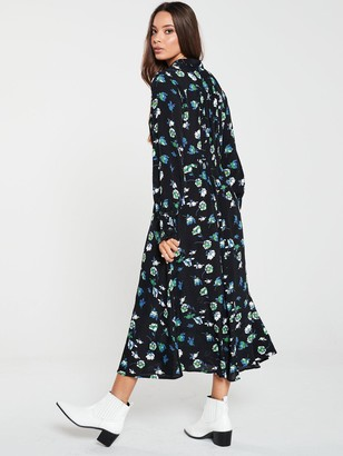 Very Shirred Waist Midi Shirt Dress - Blue Floral