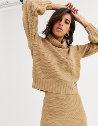 Y.A.S co-ord waffle knit jumper with roll neck in camel