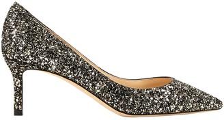Jimmy Choo Romy Silver Glitter Heels