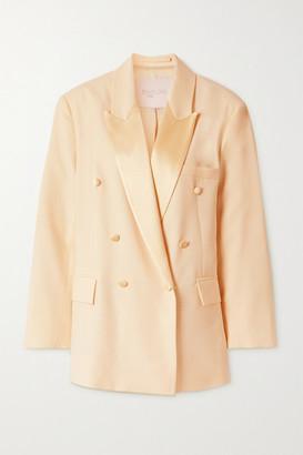Envelope1976 - + Net Sustain Lyon Double-breasted Satin-trimmed Wool-crepe Blazer - Cream