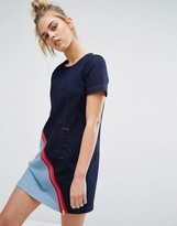 House of Holland X Lee Denim Shift Dress with Contrast Zip and Exposed Shoulder
