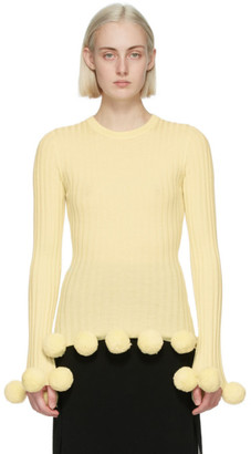 J.W.Anderson Yellow Wool Pom-Pom Fitted Sweater