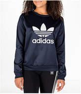adidas Women's Originals Trefoil Satin Crew Sweatshirt, Blue