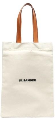 Jil Sander Flat Shopper Large Canvas Tote Bag - Tan Multi