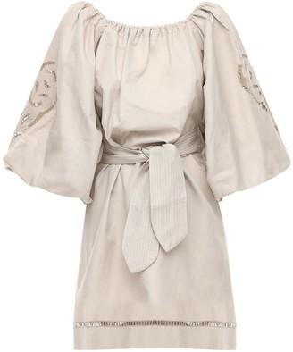 Embroidered Cotton Mini Dress W/ Belt