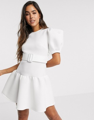 ASOS DESIGN puff sleeve belted skater mini dress with pep hem