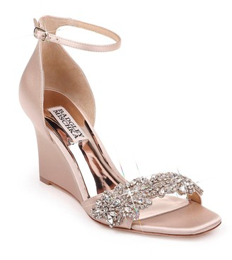 Badgley Mischka Aliyah Embellished Ankle Strap Wedge Sandal