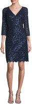 Kay Unger New York Sequin Lace V-Neck Sheath Dress, Navy