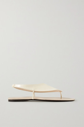 The Row Ravello Leather Slingback Sandals - Beige