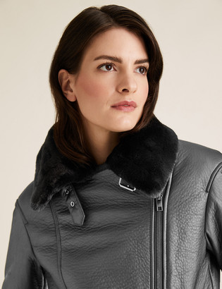 Marks and Spencer Faux Shearling Aviator Jacket