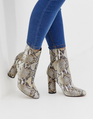 ASOS DESIGN Egypt leather heeled boots in snake