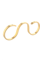 Jennifer Zeuner Jewelry Gold Plated Sterling Silver Three Finger Ring Size 8 New