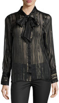 Equipment Leema Lace-Trim Tie-Neck Blouse, Black
