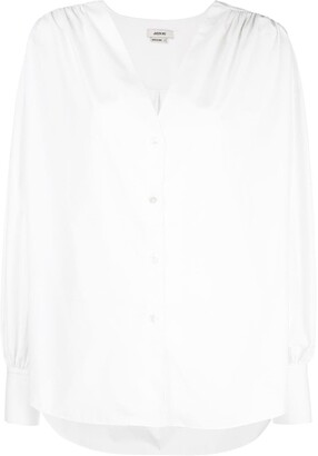 Jason Wu collarless V-neck shirt