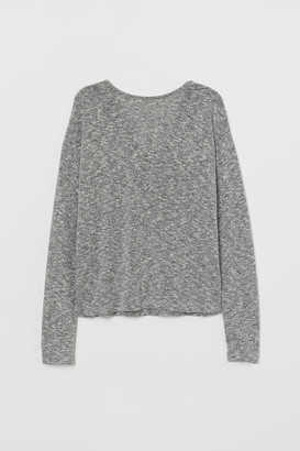 H&M Lace-trimmed Sweater - Black