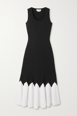 Alexander McQueen Two-tone Stretch-knit Peplum Midi Dress - Black
