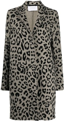 Harris Wharf London Single Breasted Leopard Print Coat