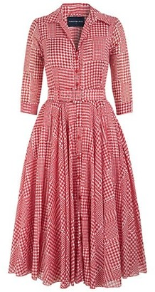 Samantha Sung Aster Checked Belted Shirtdress