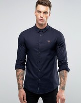 Armani Jeans Shirt In Slim Fit Twill Cotton With Logo