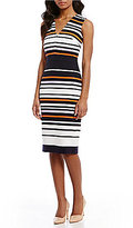 Maggy London Ottoman Striped Midi Sheath Dress
